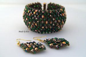 zielono-złoty komplet Caprice