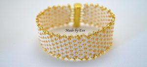 white and gold peyote bracelet