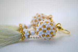 white and gold peyote earings