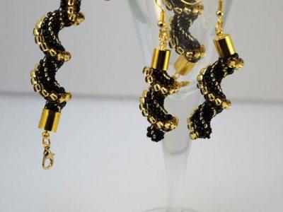 Złoto-czarny komplet cellini