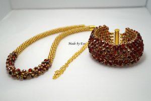 czerwono-złoty komplet