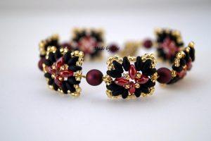 czarno-czerwony komplet z koralików superduo