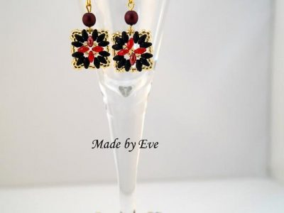 black and red set with superduo beads